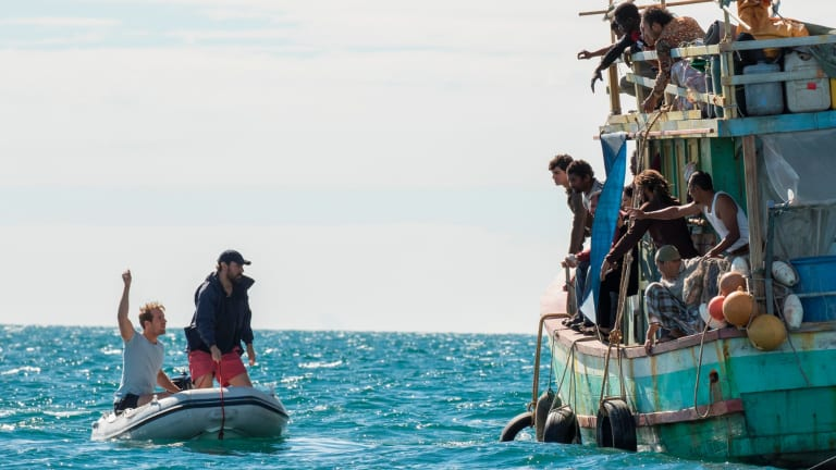 In SBS drama Safe Harbour a group of Australians on a yacht cruise discover a broken-down boat full of refugees.