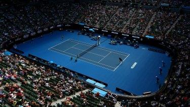 Crowds gather for the first day of the Australian Open.