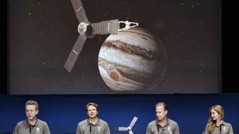 At the Jet Propulsion Laboratory in Pasadena, California, are director, Planetary Science Division, NASA, Jim Green, left; Juno principal investigator, Scott Bolton, second from left; Juno project manager, Rick Nybakken, second from right; Juno radiation monitoring investigation lead, Heidi Becker.