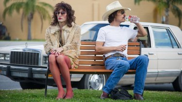 Jared Leto, left, and Matthew McConaughey in the film <I>Dallas Buyers Club</I>.