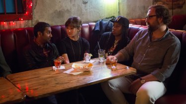 """Aziz Ansari and co-stars in Netflix's <i>Master Of None</i>. The series has no """"female from a migrant background"""" voice."""