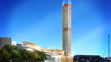 Artist impressions by Grimshaw achitects of a new $500m hotel being built by The Star at Darling Harbour.