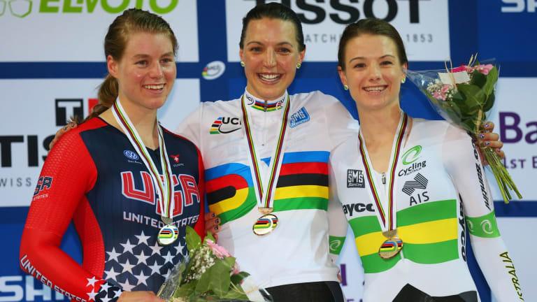 Silver medallist Jennifer Valente of the United States, gold medallist Rebecca Wiasak of Australia and bronze medallist Amy Cure of Australia.