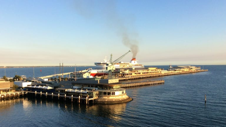 The Spirit of Tasmania docks at Station Pier this week. Emissions from it and the 50-odd tourist liners that arrive at Station Pier each year have residents at the nearby Beacon Cove concerned. Some have complained of respiratory illnesses.
