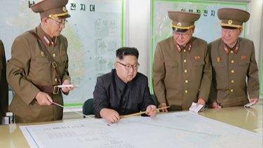 North Korean leader Kim Jong Un (centre) with senior military members.