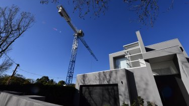 The crane on Ormond Road, Elwood, that developer Steller must take down.