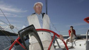 Bob Oatley at the helm.