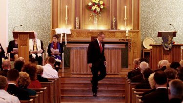 Opposition Leader Bill Shorten at the ecumenical service at the Wesley Uniting Church in Canberra to commemorate the 2016 Parliamentary year in February.