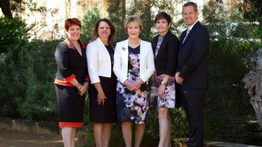 Chevron human resources GM Kaye Butler (left), with Robyn Smith Walley, Governor Kerry Sanderson, Rishelle Hume and Nigel Hearne at WAALI's official launch.