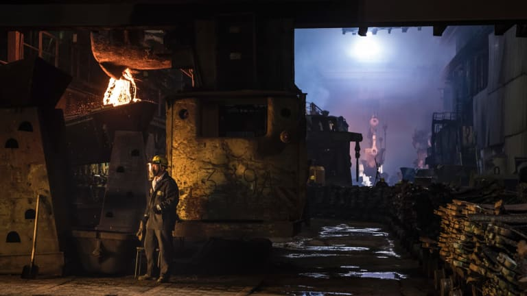 A worker near an oven at a copper plant in Norilsk, which is reckoned to be  Russia's most polluted city.