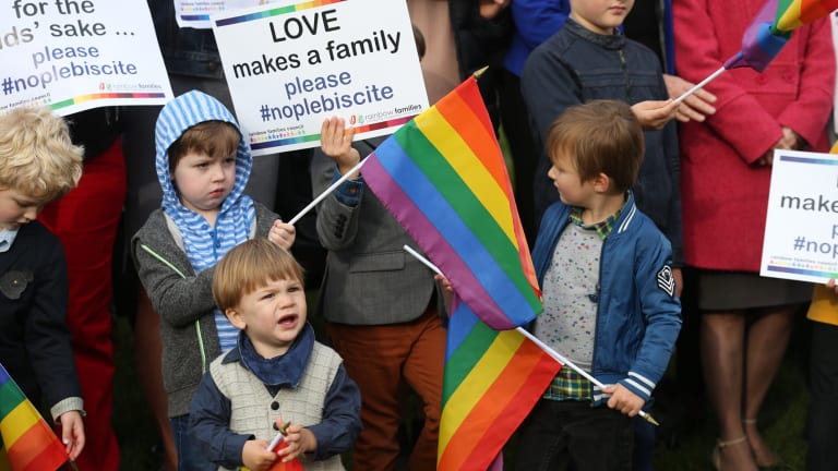 Rainbow Families opposed to a plebiscite on same sex marriage outside Parliament House in Canberra in September 2016.