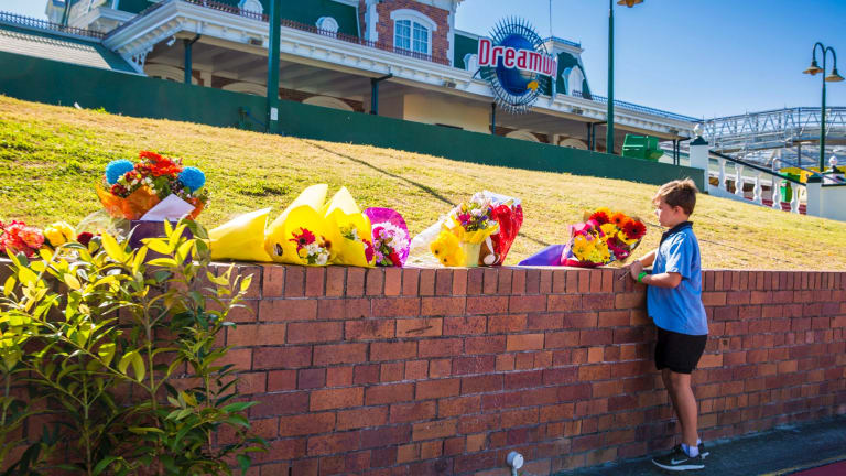 A memorial has been created outside the park.