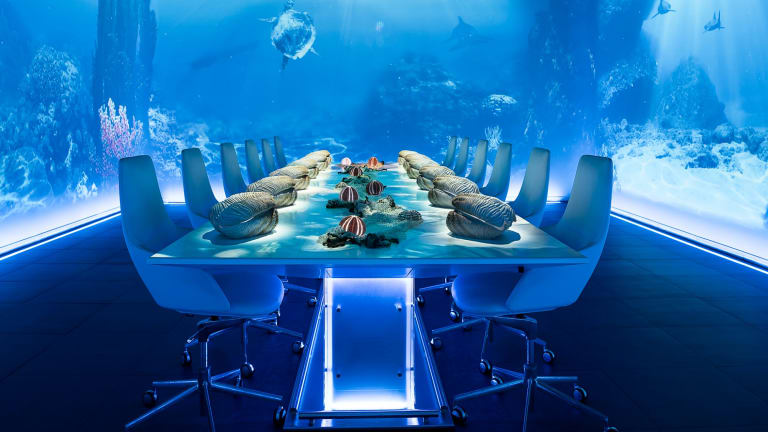 Underwater scenes accompany a seafood course at Sublimotion.