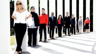 Australian fashion designer Carla Zampatti with her newly designed uniforms for Westpac staff.