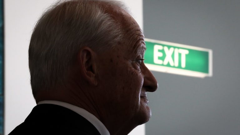 Liberal MP Philip Ruddock addresses the media during a doorstop interview after announcing he will not be seeking re-endorsement for the seat of Berowra.