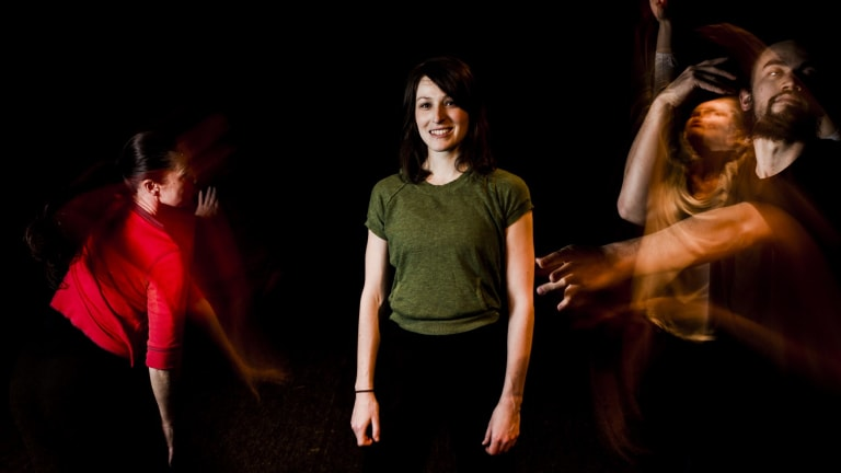 Alison Plevey with dancers Janine Proost, Liz Lea and Gabriel Comerford.