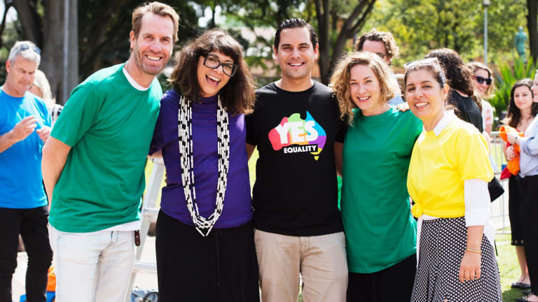 Publicist Adam Worling, City of Sydney Councillor Jess Scully, MP Alex Greenwhich, Deputy Lord Mayor Jess Miller and publicist Marie-Claude Mallat at the 'We Say Yes' event in Sydney.