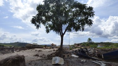 A washing machine that landed in front of a tree after  BHP-Vale's Samarco dam failure in Brazil.