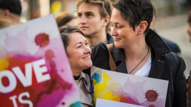Trish and Christy Hackney-Westmore (recently legally married in NZ) at the marriage equality rally.