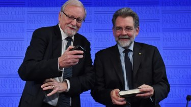 Professor for Strategic Studies Hugh White (right) and former minister for foreign affairs Gareth Evans at the National Press Club in Canberra.