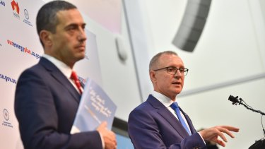 South Australian Premier Jay Weatherill (right) with Treasurer and Energy Minister Tom Koutsantonis.