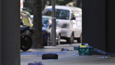Belongings scattered in Bourke Street after pedestrians were struck by a car.