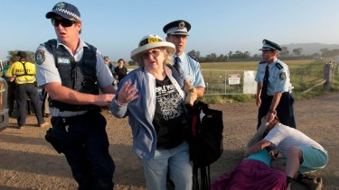 Mining ties queried: Anti-CSG protesters in Gloucester last October.