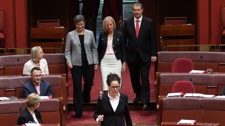 Katy Gallagher is sworn in as a new senator for the ACT in the Senate at Parliament House in Canberra on Thursday.