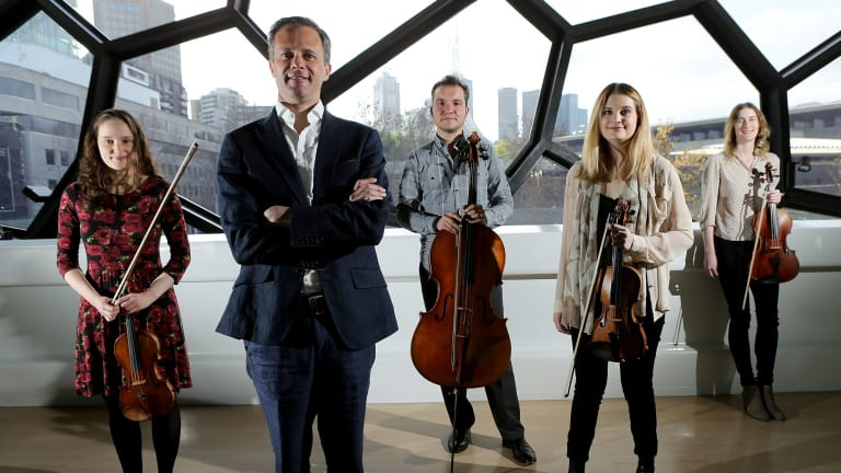 Benjamin Woodroffe (second from left) with the Patronus Quartet, from left, Anne-Marie Johnson, Paul Ghica, Courtenay Cleary and Merewyn Bramble.