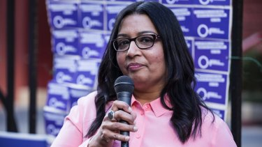 Mehreen Faruqi speaks to abortion rights campaigners outside  NSW Parliament House.