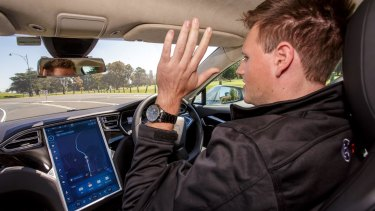 Automatic mode from within a Bosch driverless car during a test drive in October. Projections suggest the more autonomy machines have to drive cars, the fewer accidents and fatalities.