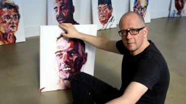 Matthew Sleeth hosting an exhibition of Myuran Sukumaran's paintings in 2014.