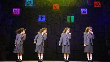 Dusty Bursill, Tiana Mirra, Alannah Parfett and Ingrid Torelli in <i>Matilda the Musical</i>.