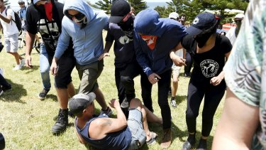 Antifa protesters at the 10th anniversary of the Cronulla race riots.