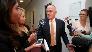 Communications Minister Malcolm Turnbull gives his explanation of the eye roll on Tuesday.