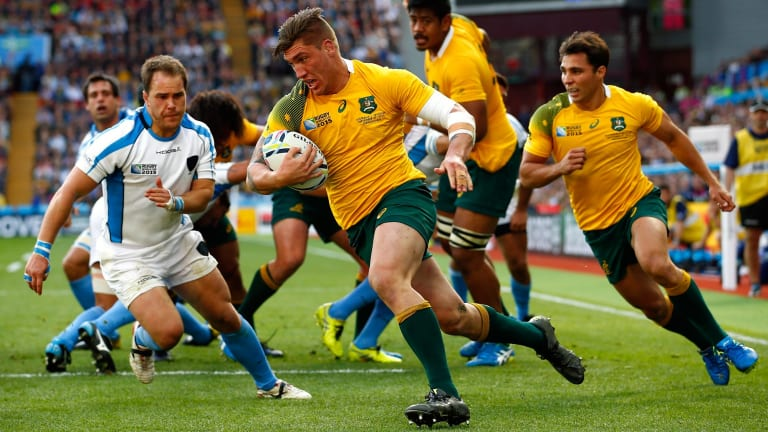 Getting his chance: Sean McMahon, who scored two tries in the Wallabies rout of Uruguay.