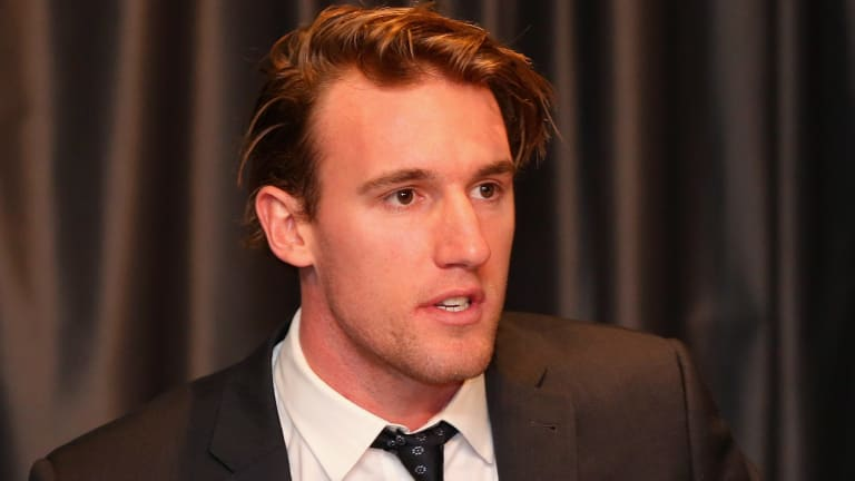 Lachie Keeffe addresses the media.