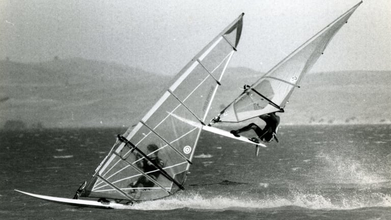 Members of the Canberra Sailboard Club enjoy the windy conditions on Lake George in December 1993.