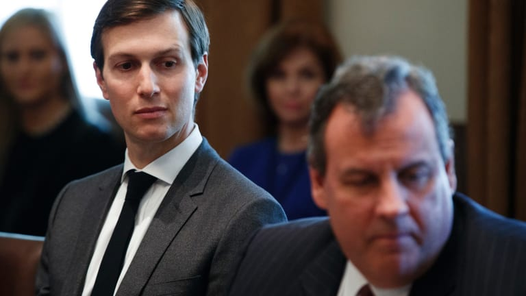 Jared Kushner, left, in the Cabinet Room of the White House with former New Jersey governor Chris Christie in March.