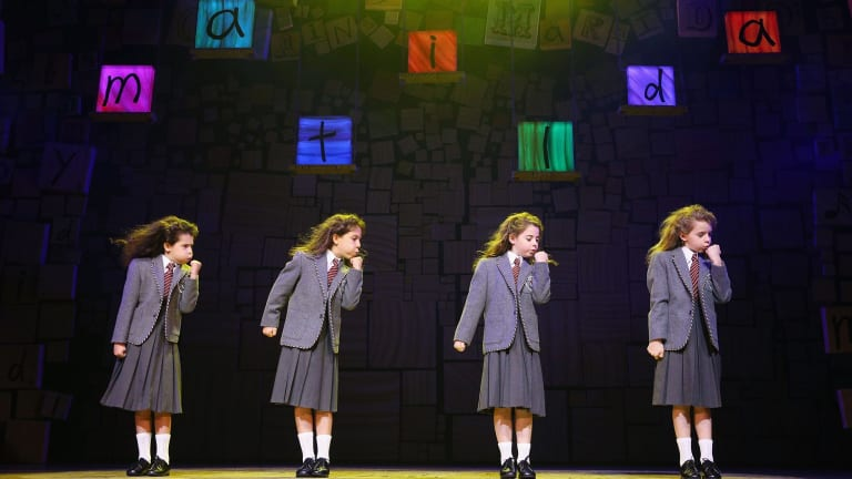 Dusty Bursill, Tiana Mirra, Alannah Parfett and Ingrid Torelli in <i>Matilda the Musical</i>.