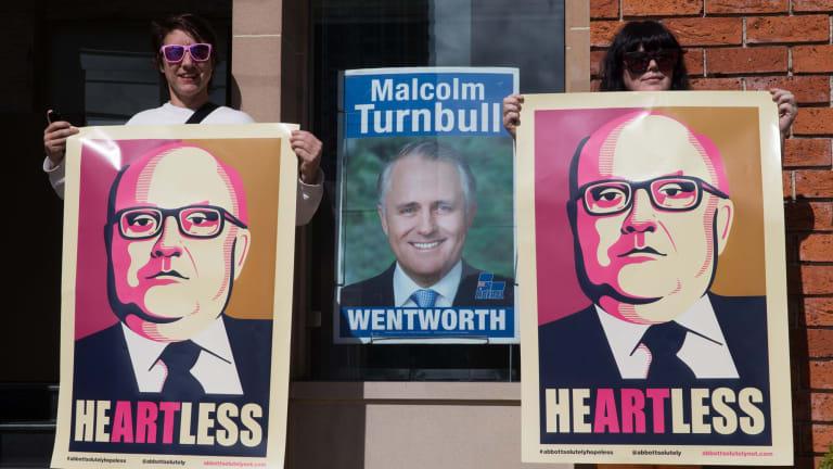 Artists protest outside Prime Minister Malcolm Turnbull's Edgecliff office, in Sydney last September.