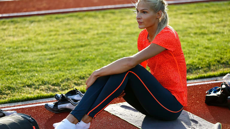 Darya Klishina of Russia warms up before the long jump during Day 1 of the IAAF Diamond League Prefontaine Classic in May.