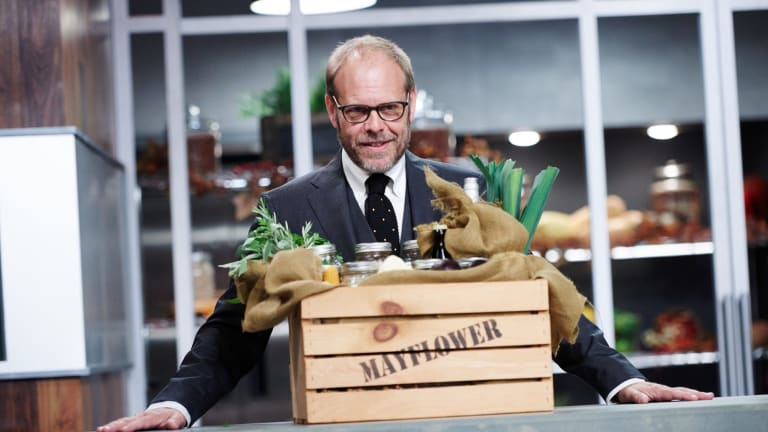 Host Alton Brown reveals the round one sabotage element: Mayflower provisions.