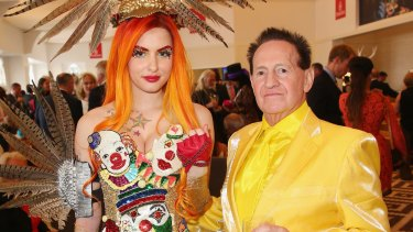 Gabi Grecko at the 2014 Melbourne Cup showing off her engagement ring which reportedly cost Geoffrey Edelsten $45,000.