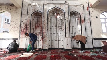 Inside a damaged mosque in Kabul.