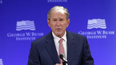 Former U.S. President George W. Bush speaking out in New York.