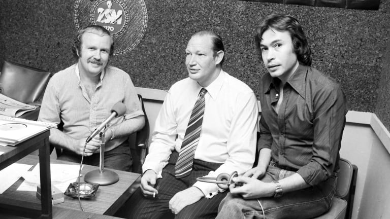 Multimedia star: Mike Gibson and radio show co-host George Moore with Kerry Packer at 2SM on 7 November 1977.