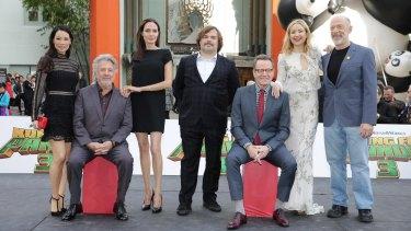The all-star voice cast of <i>Kung Fu Panda 3</i>: Lucy Liu, Dustin Hoffman, Angelina Jolie,  Jack Black, Bryan Cranston, Kate Hudson and JK Simmons.
