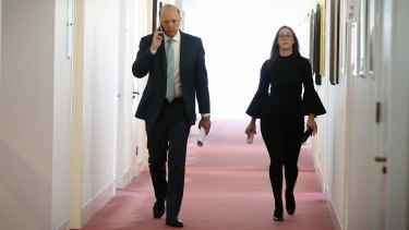 Peter Dutton, arriving for a radio interview in Parliament House on Thursday, is being targeted by Get Up.