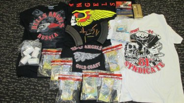 Hells Angels merchandise was found by police.